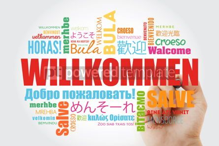 Business: Willkommen Welcome in German. Word cloud with marker in differe #09906
