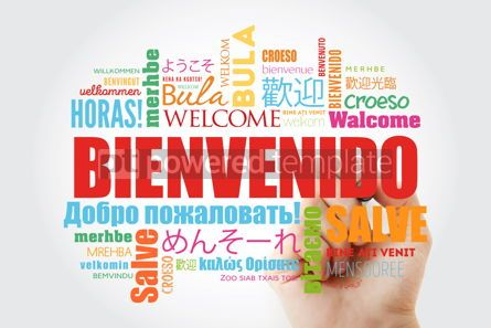 Business: Bienvenido (Welcome in Spanish) word cloud with marker in differ #09908