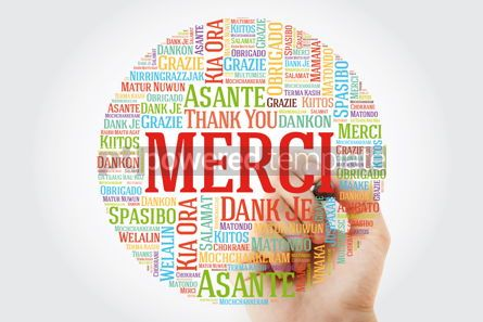 Business: Merci (Thank You in French) Word Cloud with marker all language #09910