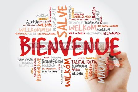 Business: Bienvenue (Welcome in French) word cloud with marker in differen #09911