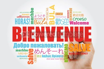 Business: Bienvenue (Welcome in French) word cloud with marker in differen #09913