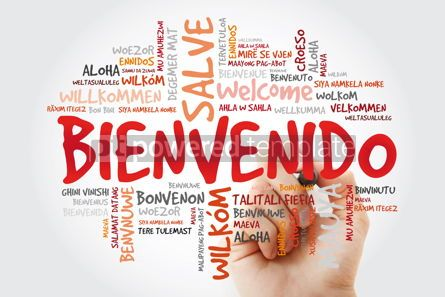 Business: Bienvenido (Welcome in Spanish) word cloud with marker in differ #09916