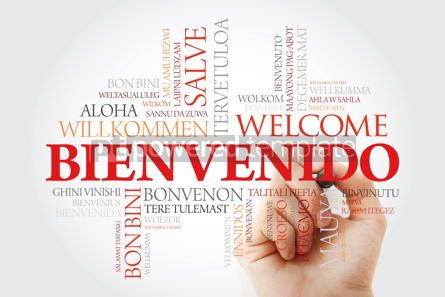 Business: Bienvenido (Welcome in Spanish) word cloud with marker in differ #09917