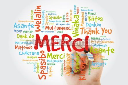 Business: Merci (Thank You in French) Word Cloud with marker all language #09920