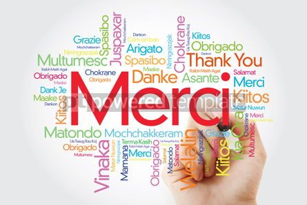Business: Merci (Thank You in French) Word Cloud with marker all language #09922