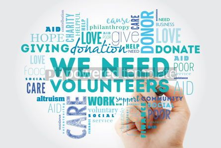 Business: WE NEED VOLUNTEERS word cloud collage with marker social concep #09923