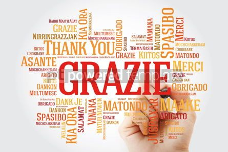 Business: Grazie (Thank You in Italian) Word Cloud with marker all langua #09924