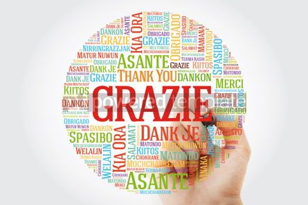 Business: Grazie (Thank You in Italian) Word Cloud with marker all langua #09925