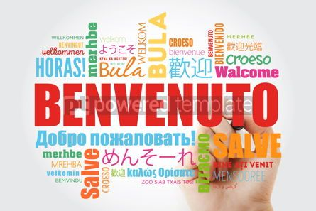 Business: Benvenuto (Welcome in Italian) word cloud with marker in differe #09926