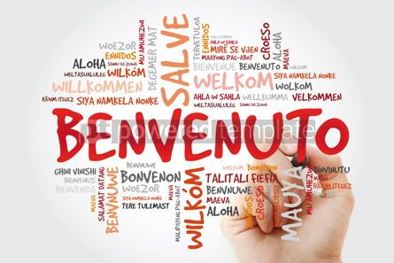 Business: Benvenuto (Welcome in Italian) word cloud with marker in differe #09927