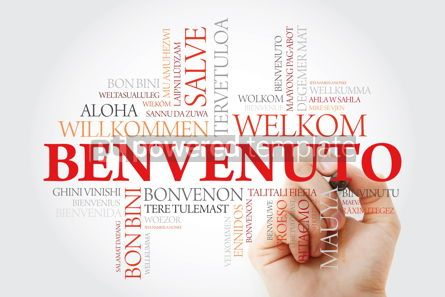 Business: Benvenuto (Welcome in Italian) word cloud with marker in differe #09928