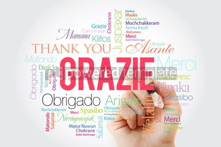 Business: Grazie (Thank You in Italian) Word Cloud with marker all langua #09929