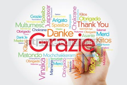 Business: Grazie (Thank You in Italian) Word Cloud with marker all langua #09930