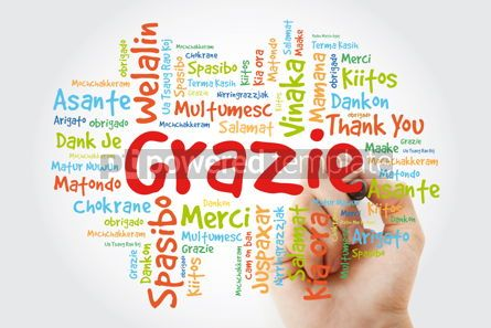 Business: Grazie (Thank You in Italian) Word Cloud with marker all langua #09931