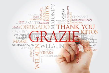 Business: Grazie (Thank You in Italian) Word Cloud with marker all langua #09933