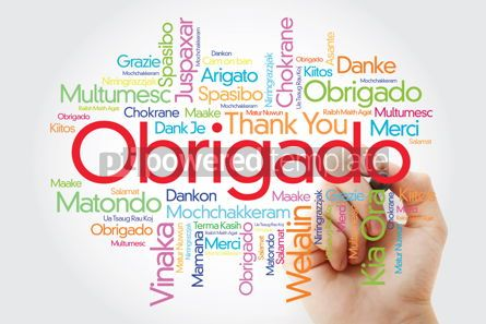 Business: Obrigado (Thank You in Portuguese) Word Cloud with marker all l #09941