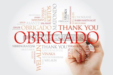 Business: Obrigado (Thank You in Portuguese) Word Cloud with marker all l #09942