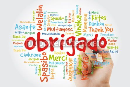 Business: Obrigado (Thank You in Portuguese) Word Cloud with marker all l #09943