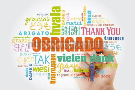 Business: Obrigado (Thank You in Portuguese) Word Cloud with marker all l #09944