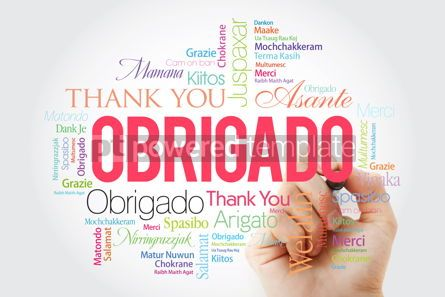 Business: Obrigado (Thank You in Portuguese) Word Cloud with marker all l #09945