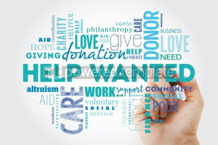 Business: Help Wanted word cloud collage with marker social concept backg #09947