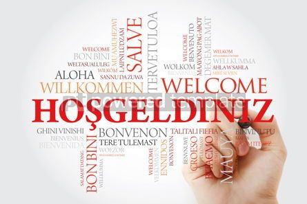 Business: Hosgeldiniz (Welcome in Turkish) word cloud with marker in diffe #09948