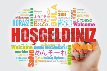 Business: Hosgeldiniz (Welcome in Turkish) word cloud with marker in diffe #09949