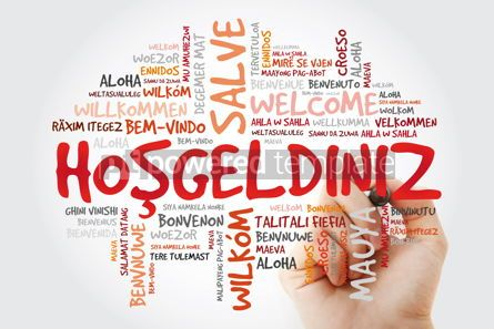 Business: Hosgeldiniz (Welcome in Turkish) word cloud with marker in diffe #09950