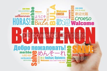 Business: Bonvenon (Welcome in Esperanto) word cloud with marker in differ #09952