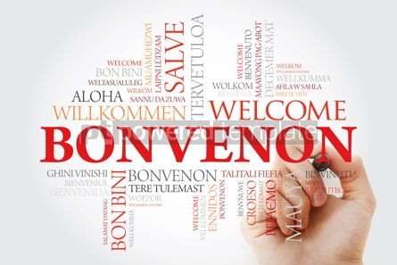Business: Bonvenon (Welcome in Esperanto) word cloud with marker in differ #09953