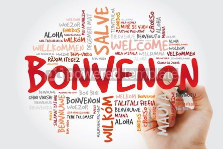 Business: Bonvenon (Welcome in Esperanto) word cloud with marker in differ #09954