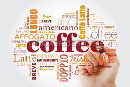 Food & Drink: List of coffee drinks words cloud collage with marker poster ba #09962