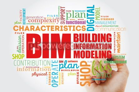 Business: BIM - building information modeling word cloud with marker busi #09963