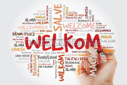 Business: Welkom (Welcome in Afrikaans) word cloud with marker in differen #09964