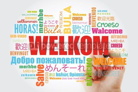 Business: Welkom (Welcome in Afrikaans) word cloud with marker in differen #09965