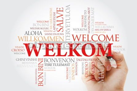 Business: Welkom (Welcome in Afrikaans) word cloud with marker in differen #09966