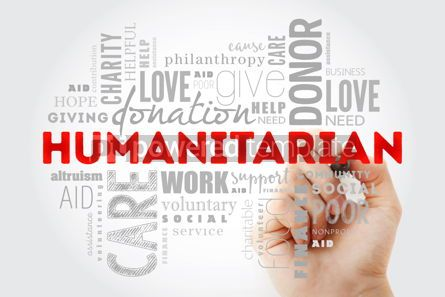 Business: Humanitarian word cloud collage with marker social concept back #09972