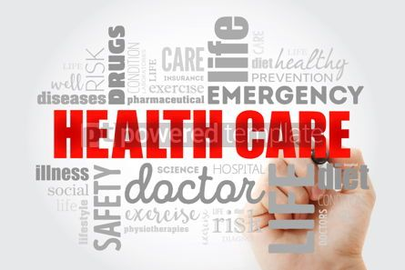 Health: Healthcare word cloud collage with marker health concept backgr #09975