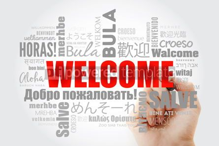 Business: WELCOME word cloud with marker in different languages conceptua #09976