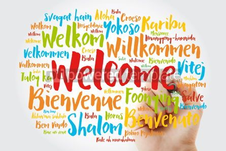 Business: WELCOME word cloud in different languages with marker conceptua #09978