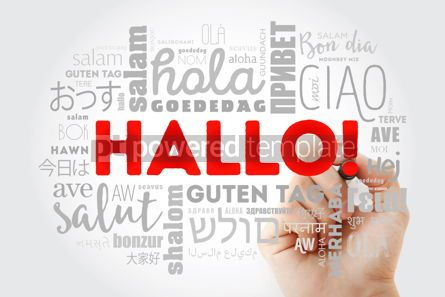 Business: Hallo (Hello Greeting in German) word cloud in different languag #09980
