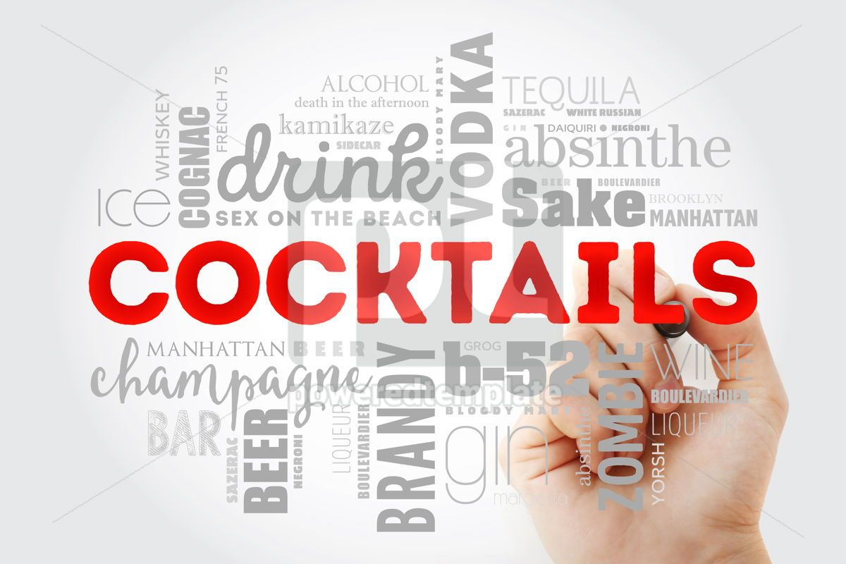 Different cocktails and ingredients word cloud collage with mar, 09982, Food & Drink — PoweredTemplate.com