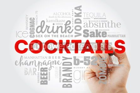 Food & Drink: Different cocktails and ingredients word cloud collage with mar #09982