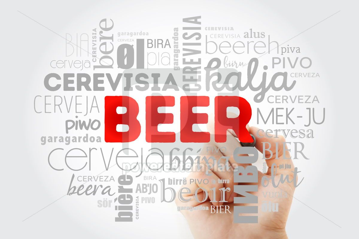 BEER in different languages of the world (english french germa, 09983, Food & Drink — PoweredTemplate.com