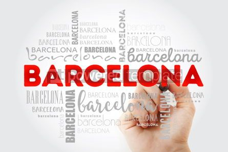 Business: Barcelona wallpaper word cloud with marker travel concept backg #09985