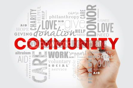 Business: Community word cloud collage with marker social concept backgro #09988