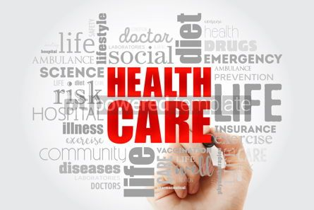 Health: Healthcare word cloud collage with marker health concept backgr #09989