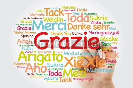 Business: Grazie (Thank You in Italian) Word Cloud with marker all langua #09992