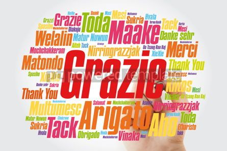 Business: Grazie (Thank You in Italian) Word Cloud with marker all langua #09993
