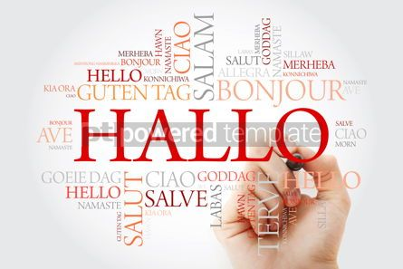 Business: Hallo (Hello Greeting in German) word cloud in different languag #10001